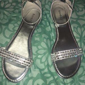BAMBOO Silver Rhinestone Sandals